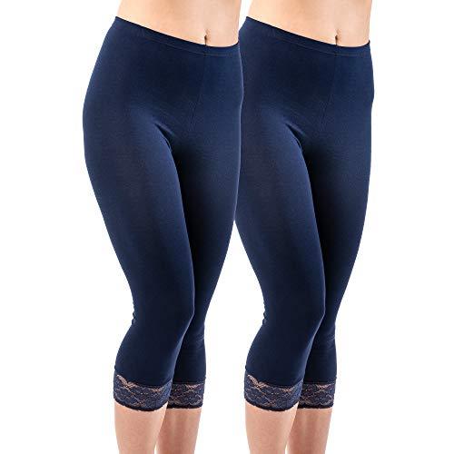 HERMKO 5722 2er Pack Damen 3/4-Leggings mit Spitze, Farbe:Marine, Größe:44/46 (L)