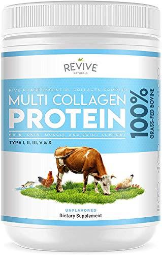 Multi Collagen Protein Powder - 5 Types of Food Sourced Collagen Peptides - Hydrolysed Grass Fed Bovine, Wild Caught Marine & Free-Range Chicken - 400g