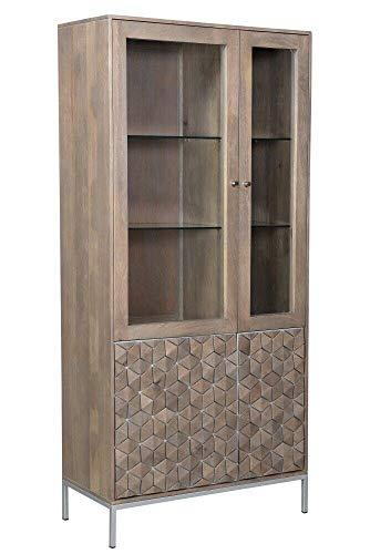 Vitrine WZ-0149 Mangoholz Massiv Metall Natur Silber 2 Türen Schrank Highboard