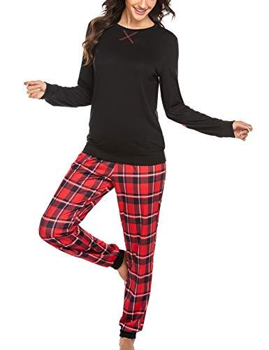Schlafanzug Damen Winter Lang Pyjama Set Zweiteiliger Sleepwear Langarm Nachtwäsche Lang Hausanzug mit Karierte Hose Herbst Schwarz für Frauen M