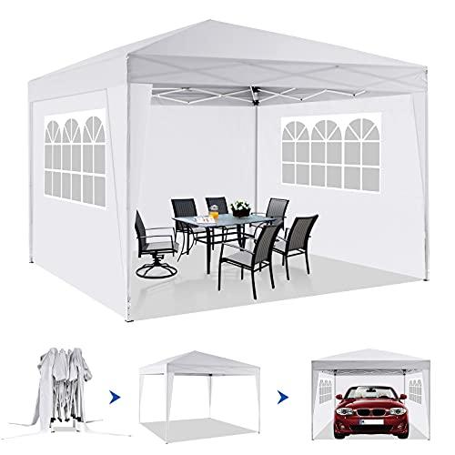 Tonnelle Imperméables 3×3m, Tonnelle de Jardin avec Protection UV de 4 Murs Tente de Réception Pliante Tente Extérieure Réglable de Tonnelle avec des Fenêtres pour Le Camping(Blanc)