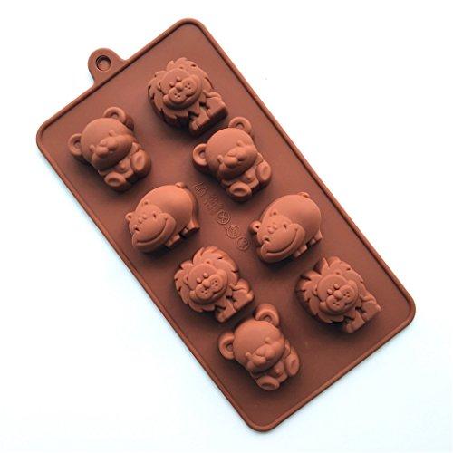 MKNzone 1 Stück 8-Loch 20 X 10 X 2 cm Silikon Backform Schokolade, Gelees und Süßigkeiten etc. - Löwe, Flusspferd und Bär
