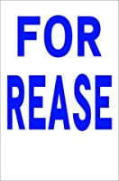 シンプル縦型看板 「FOR REASE(青)」不動産 屋外可(約H45.5cmxW30cm)