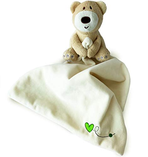 Baby Kuscheldecke von Baby Bibi. Baby Plüsch-Kuscheldecke für Jungen und Mädchen mit süßem Teddybär. Beruhigende und spaßige, hellgelbe Kuscheldecke mit braunem Teddybär, größe 30 x 30 cm