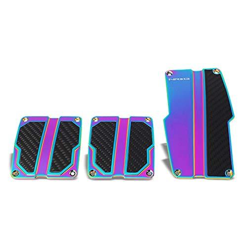 UrMarketOutlet NRG PDL-100MC Brake/Gas/Clutch Manual MT Sport Race Foot Pedal Plates Cover Set (Neochrome w/Black Carbon)