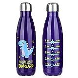 Botella de agua olyee de dinosaurio con aislamiento al vacío, botella de acero inoxidable de doble pared, 500 ml, a prueba de fugas, bebidas deportivas frías y calientes para regalos de fiesta para niños