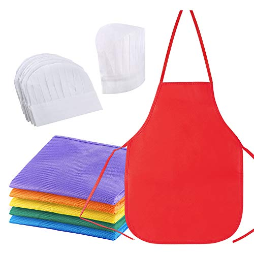 Caydo 12 Pieces 6 Colors Children's Artists Fabric Aprons and White Chef Hats for 3-7 Years Kids Kid, Kitchen, Classroom, Community Event, Crafts & Art Painting Activity-Safe Clean