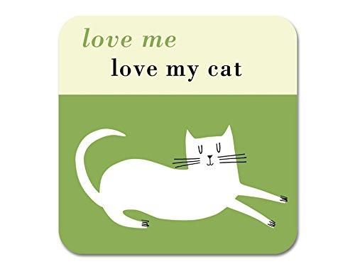Love Me Love My Cat Dessous de Verre – durable d'eucalyptus. Fabriqué en Angleterre