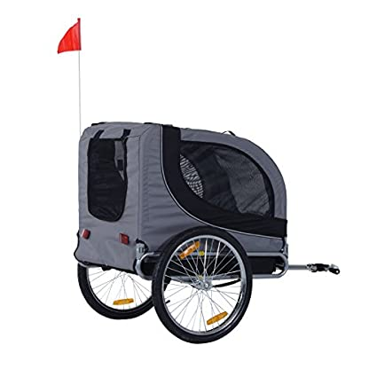 PawHut Steel Dog Bike Trailer Pet Cart Carrier for Bicycle Jogger Kit Water Resistant Travel Grey and Black 8