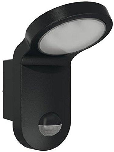 ESYLUX 2386878 LED-lamp 14 W met bewegingsmelder, 140 graden, 5000 K, gegoten aluminium en kunststof, AOL 100LED 5K, zwart