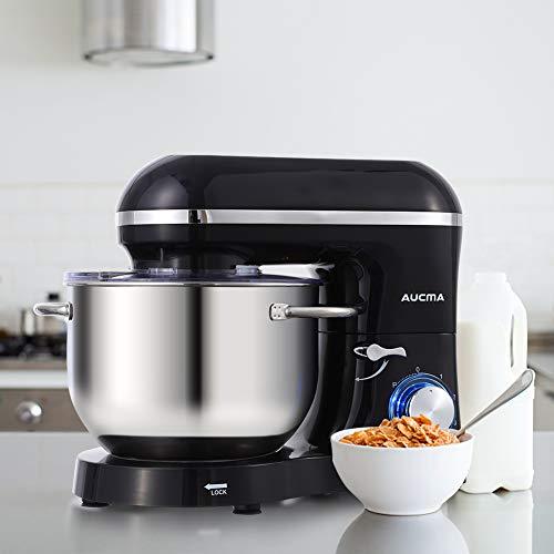 Aucma Küchenmaschine 1400W mit 6,2L Edelstahl-Rühlschüssel, Rührbesen, Knethaken, Schlagbesen und Spritzschutz, 6 Geschwindigkeit Geräuschlos Teigmaschine, Schwarz - 9