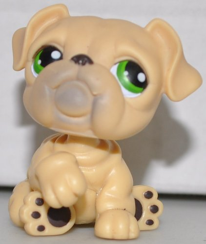 Bulldog #107 (Tan, Green eyed) - Littlest Pet Shop (Retired) Collector Toy - LPS Collectible Replacement Single Figure - Loose (OOP Out of Package & Print)