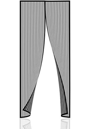 Norjews Magnet Fliegengitter Tür Insektenschutz Balkontür (90×210cm) Fliegenvorhang ist Ideal für die Balkontür und Terrassentür, Klebemontage Ohne Bohren - inklusive 4 x Anti-Mücken-Armbänder