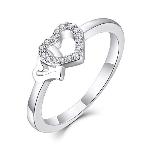 Starchenie Anillos Mujer Plata de ley 925 Anillos Compromiso Corazón Aniversario Anillos oro Blanco Circonita cúbica 5A Regalo para ella