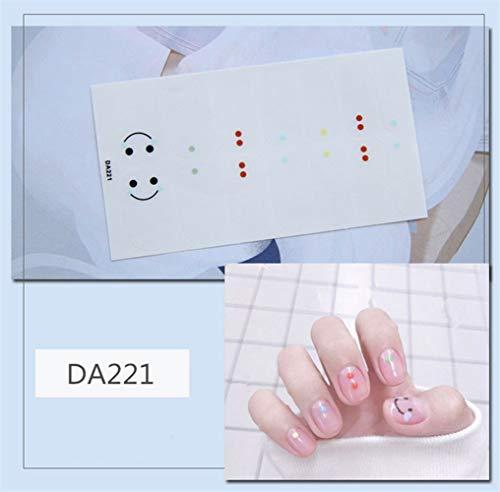 HDDWZH Nagelaufkleber,14 Tipps/Blatt Volle Deckung Wraps Nagellack Sticker Plain Smiley Farbige...