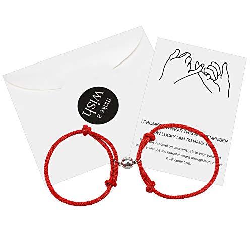 2 piezas pareja atracción mutua pulsera magnética cuerda trenzada pulseras a juego relación de larga distancia joyería regalo para ella y él (2 piezas rojo)
