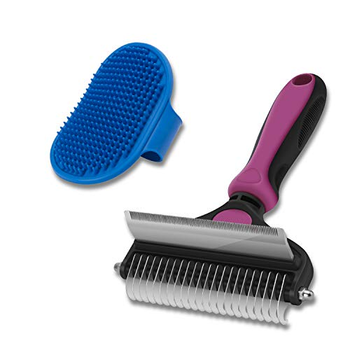 CGBE Dog Brush and Cat Brush 2 in 1 Pet Undercoat Rake Grooming Tool for Deshedding Mats amp Tangles Removing Shedding Brush and Dematting Comb for Large Dogs amp Cats Large Pink