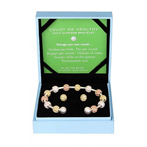 Golf Goddess Stroke/Score Counter Bracelet Gift Set - Tricolor Golf Ball Bead with Gold Golf Ball Earrings