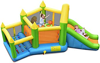 BOUNTECH Inflatable Bounce House, Kids Jumper Castle Playhouse w/ Long Slide, Large Jump Area, Ocean Ball Pool, Basketball Hoop, Including Carry Bag, Repair Kit, Stakes (Without Blower)