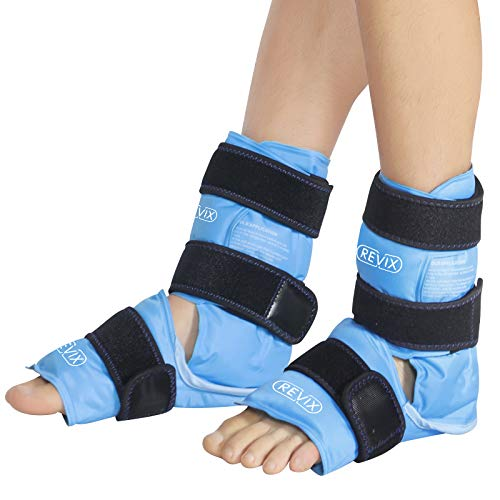 REVIX Ankle Ice Packs for Injuries Reusable Gel Ice Pack for Ankle Pain Relief, Plantar Fasciitis and Achilles Tendonitis, 2 Packs