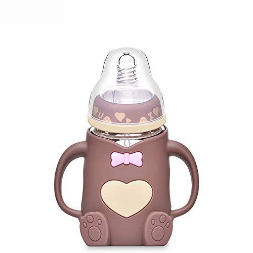 SPAWX Babyflasche Auslaufsichere Design-Muttermilchflaschen-Babyschale des Breiten Kalibers des Karikaturmusters passend für Kinder,Brown