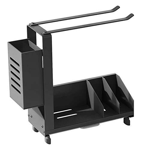 TGJ Kitchen Sink Caddy Organizer Wall-Mounted Dish Draining Sink Basket with Drain Pan Rag Rack and Chopstick Holder