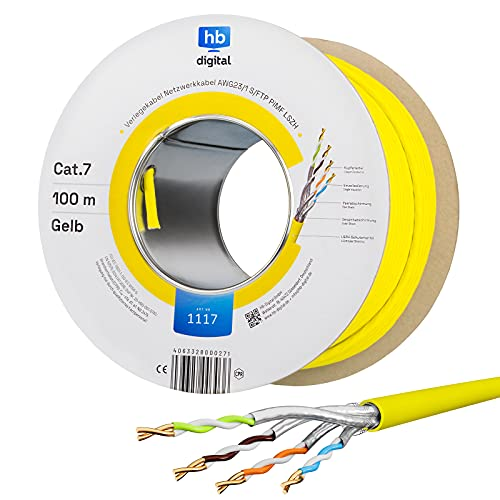 hb-digital Netzwerkkabel LAN Verlegekabel Cabel 100m CAT 7 Kupfer Profi S/FTP PIMF LSZH Halogenfrei gelb RoHS-Compliant cat. 7 Cat7 AWG 23/1