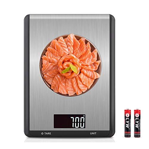 LanFun Digitale Küchenwaage Digitalwaage Professionelle Elektronische Waage Edelstahl Präzision auf bis zu 1g(5kg Maximalgewicht), inkl. Batterien, extragroße Wiegefläche, beleuchtete LCD-Anzeige