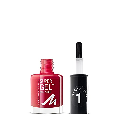 Manhattan Super Gel Nagellack – Gel Maniküre Effekt ganz ohne UV Licht – Klassisch roter Nail Polish mit bis zu 14 Tagen Halt – Farbe Ladies Night 635 – 1 x 12ml