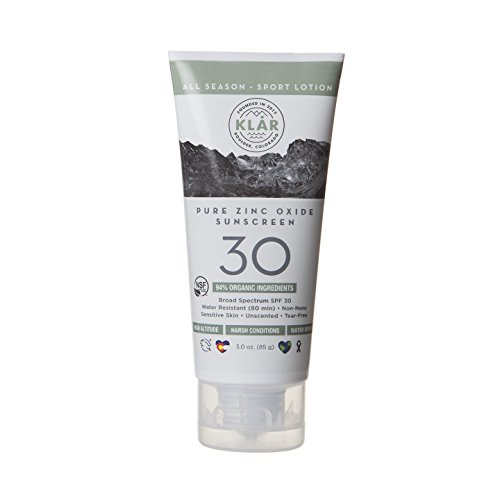 KLAR Pure Zinc Oxide SPF 30 Face & Body Sunscreen, NSF/USDA Certified Organic, 94% Organic. Biodegradable Reef Safe. Hypoallergenic, For Very Sensitive Skin. Chemical & Tear Free. Vegan. Baby & Family
