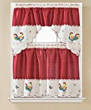 DiamondHome 3 Piece Red with Embroidery Rooster Kitchen Café Curtain Window Treatment Tier and Valance Set (Red/Rooster)