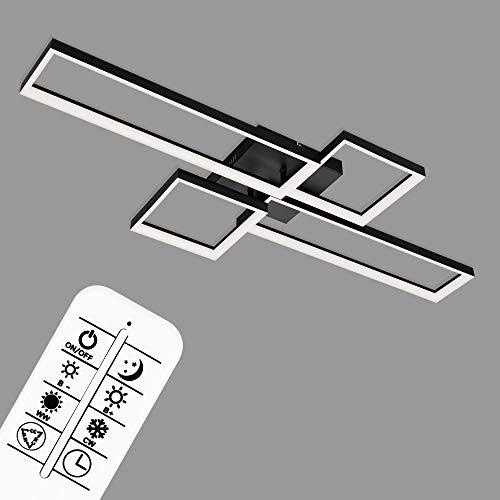 Briloner Leuchten - LED Deckenleuchte, Deckenlampe dimmbar, inkl. Fernbedienung, Farbtemperatursteuerung, Nachtlichtfunktion und Timer, Schwarz, 40 Watt, 4.400 Lumen, 1100x420x120mm (LxBxH)