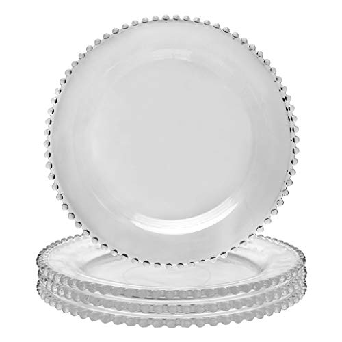 Set of Four Dinner Plates - Glass Dining Crockery with Beaded Edge - D26.5cm