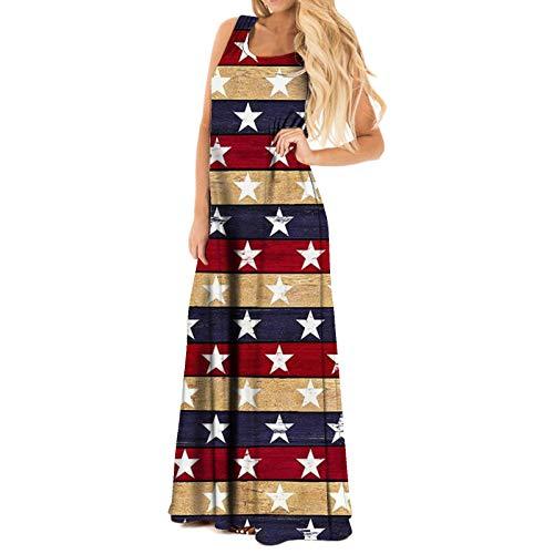 Vestido del Día de La Independencia Ropa Estampada sin Mangas con Rayas de Estrellas para El 4 de Julio Suministros para Fiestas del Día Nacional