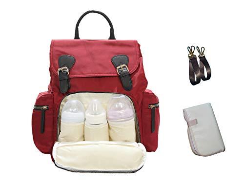 VIRED Mamma - Mochila multifunción para pañales de bebé, impermeable, con bolsillos térmicos, color burdeos Oxford rojo elegante, 2 ganchos para cochecito de bebé, 1 cambiador