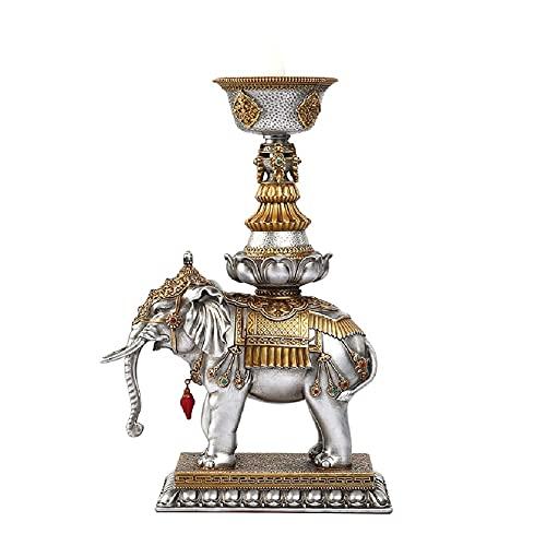 Lámpara de aceite antigua Lámpara de mantequilla electrónica, lámpara de baofotang de elefante LED recargable para la lámpara de Buda, soporte de la lámpara de mantequilla de la vela del hogar Lámpara