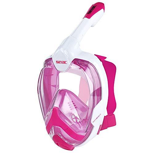 SEAC Magica, Maschera Snorkeling Full Face Integrale Anti Appannamento con Morbido Facciale, Valvola di Spurgo e Snorkel Dry Top per Bambini e Adulti, Bianco/Rosa, S/M
