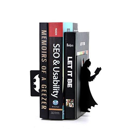 Sujetalibros Batmam Iron Bookends Superman Bookstand Estudiantes titulares de libros Oficina en el hogar Artículos de papelería Terminales de libros de metal Organizadores de estanterías Sujeta Libros