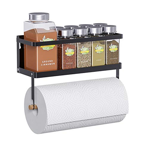 Thipoten Magnetic Spice Rack, 2-in-1 Foldable Strong Magnetic Shelf with Paper Towel Holder, Perfect Space Saver for Small Kitchen/Apartment, Easy to Install on The Side of Refrigerator(Black)