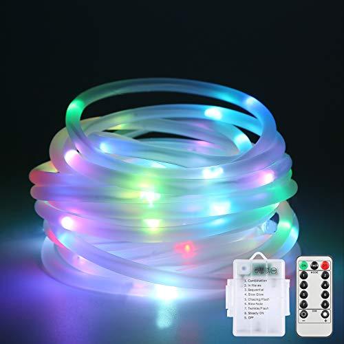 LED Schlauch, Lichtschlauch 12m 120LED,Lichterschlauch 8 Modi & 4 Farben mit Fernbedienung, Wasserdicht LED Schlauch Außen für Zimmer, Weihnachtsbaum, Deko, Party