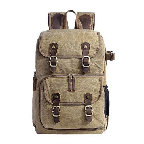 FENICAL Vintage Kamera Rucksack gewachst wasserdicht große Kapazität Leinwand Foto Rucksack Tasche für Laptop-Camcorder (Khaki)