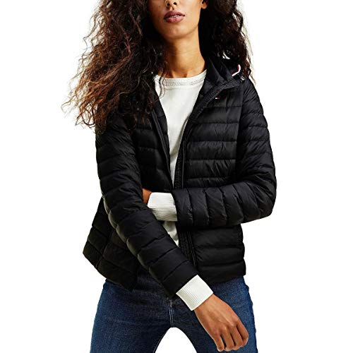 Tommy Hilfiger Damen Th Essential Lw Dwn Pack JKT Jacke, Black, L