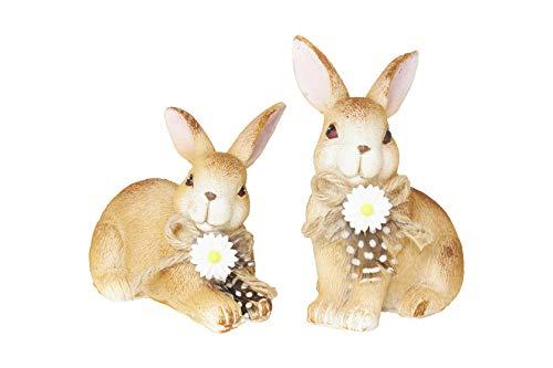 HEITMANN DECO Keramik Hasen - Dekofiguren mit Schleifen und Blumen - Osterhase, Osterdeko, Frühlingsdeko - 2er Set, klein - Braun