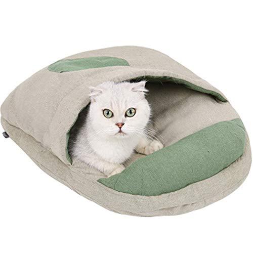 Pet Cat Caves & Houses Welpenschlafsack Bett Super warm und gemütlich Haustiere House Rest Bag Matte für Hunde, Katzen und Kaninchen, Beige