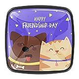 Perillas de cajón para el gabinete del día de la amistad con el perro y el gato – pomos elegantes de alta calidad (4 unidades)