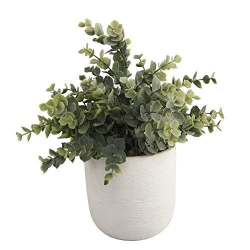 Flora Bunda Artificial Succulent Faux Plant Eucalyptus 4.5' Ceramic Texture Planter Pot,White 4.5'
