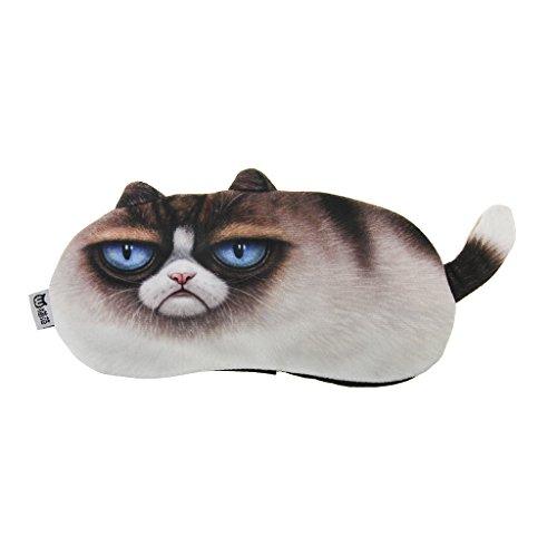 Niedliches Katzen Muster Schlafmaske Augenmaske Schlafbrille Nachtmaske mit Kühlkissen Warmkissen für Zug Bus Flugzeug Haushalt Reise Büro