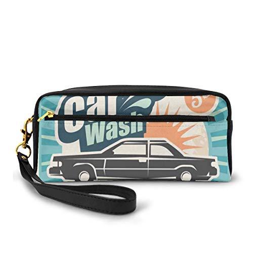 Pencil Case Pen Bag Pouch Stationary,Retro Car Wash Auto Service Repair Poster Style Art in Vintage Color Classic Design Print,Small Makeup Bag Coin Purse