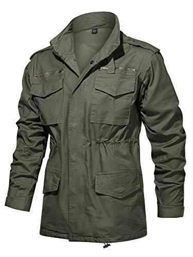TACVASEN Men's Field Jacket Hood Drawstring Waist Spring Fall Coat with Mult-Pockets Green, M