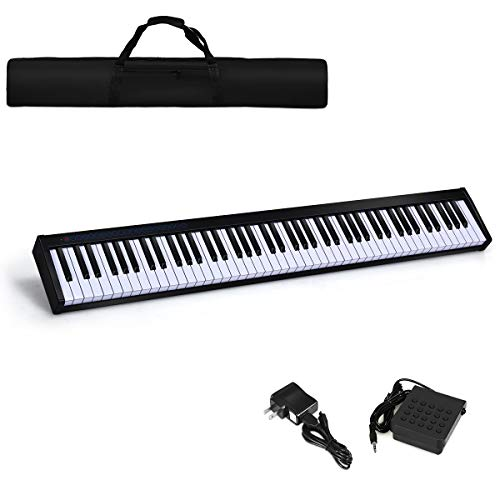 Costzon 88-Key Portable Digital Piano, Touch Sensitive Knocking Force Key Piano with External Speaker, Bluetooth Voice Function, MIDI Keyboard, Sustain Pedal, Power Supply and a Black Handbag (Black)